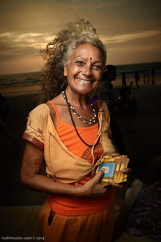 "Shanti, Israel. Has been in India many times, but this is the second year in Goa. She does divination on Tarot cards. ""Take your card for this evening."" (I took). ""It says Manifestation. If you make a project, it need to be manifested. Shared with others."""